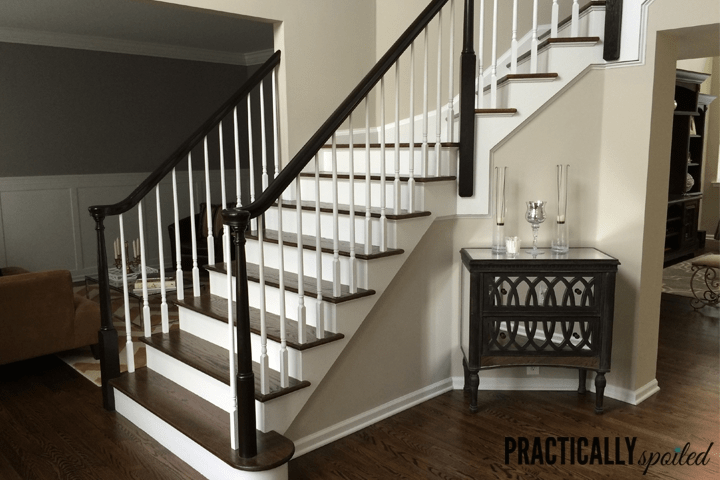 How To Gel Stain *Gly Oak Banisters   Black Wood Stair Railing   Hardwood   Curved Wood   Ash Gray   Oak   Cantilever Stair