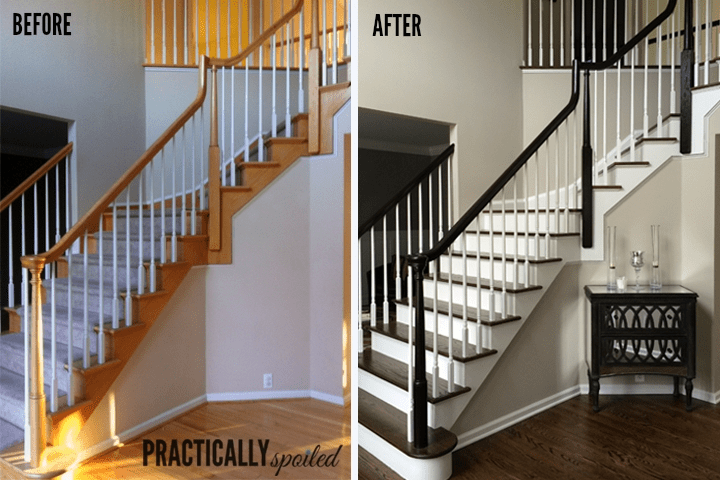 How To Gel Stain *Gly Oak Banisters   Red Oak Stair Railing   Inside   2 Tone   Beautiful   Color   Two Toned