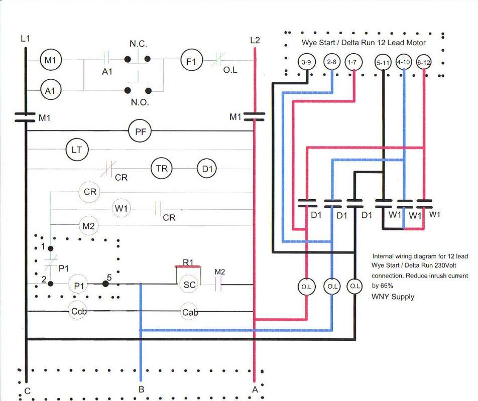 12 Lead Wye Start Delta Run Motor Wiring Diagram - wiring diagrams ...