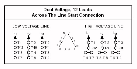 12 lead motor connection diagram to operate a 12 lead motor 6 lead single phase motor wiring diagram wiring guide for dual voltage delta