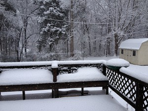 A picture of a backyard filled with snow.