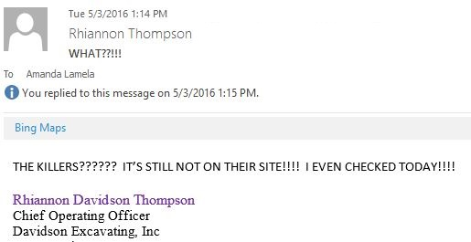 This is a screen capture of an e-mail from Rhiannon Thompson showing her excitement about The Killers performing at Sage Summit 2016.