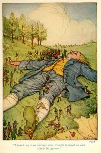Gulliver trapped by the Lilliputians