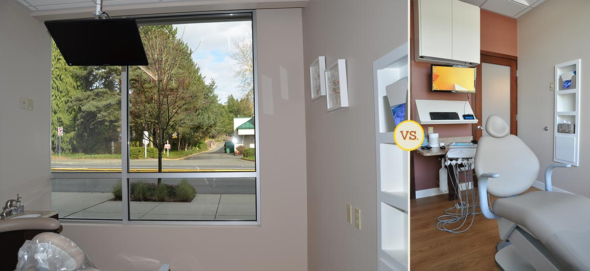 Side-by-side comparison of dental practice operatory room photos
