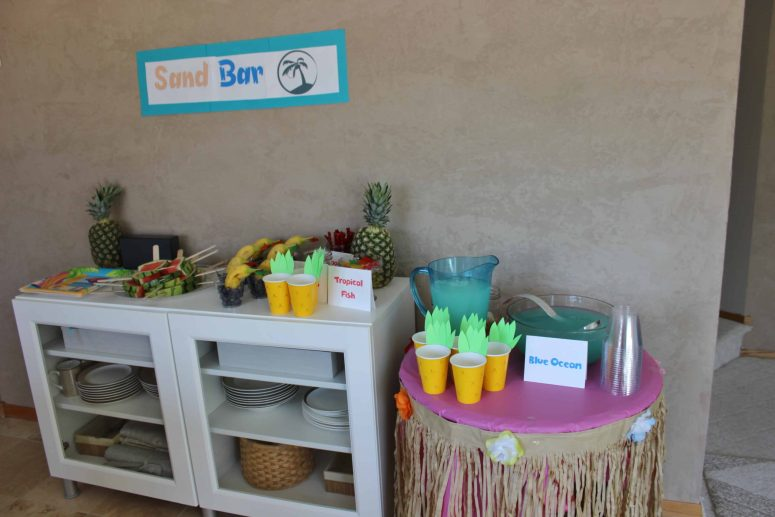 """Luau party food at the """"sand bar"""""""