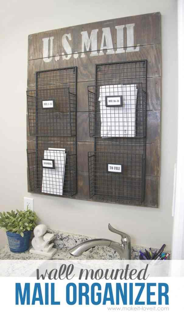Wall mounted mail organizer