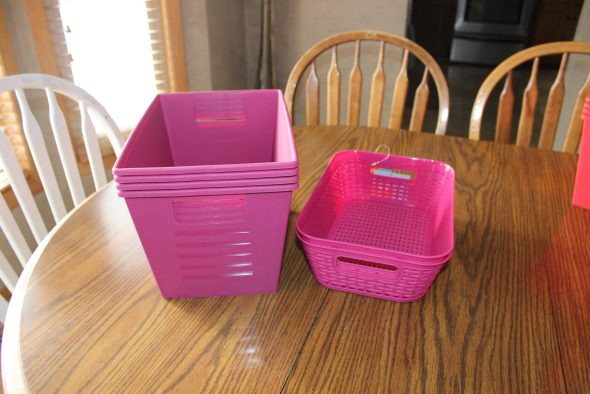 Pink organizing bins from Dollar Tree