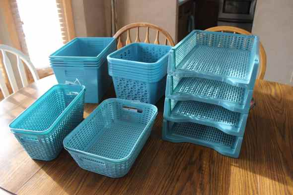 Blue organizing bins from Dollar Tree