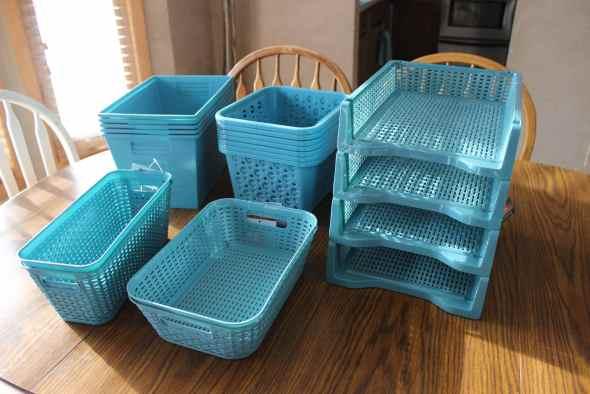 Blue organizing bins from Dollar Tree