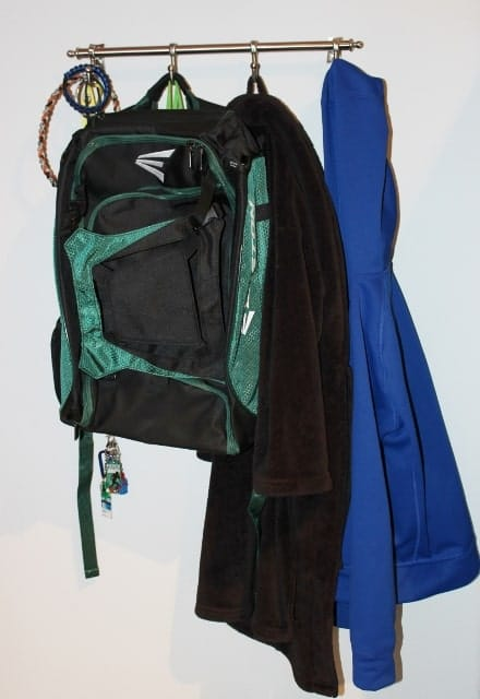 hook rail for jackets and backpack