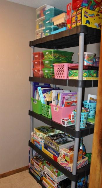 My kids' craft shelf