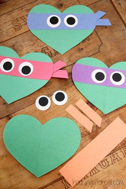Ninja turtle heart-shaped valentines