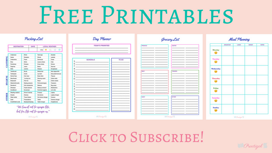 Free printables. Click to subscribe to Practical blog.