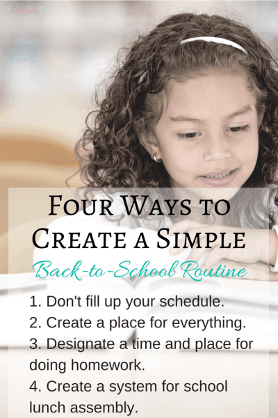 A back to school routine should be simple so that it alleviates stress instead of adding more!Here are four routine ideas that will work for any family.~Practigal Blog