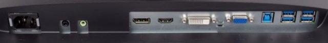 Audio, DisplayPort, HDMI, DVI, VGA and 4 x USB 3.0 ports of the BenQ BL2581T