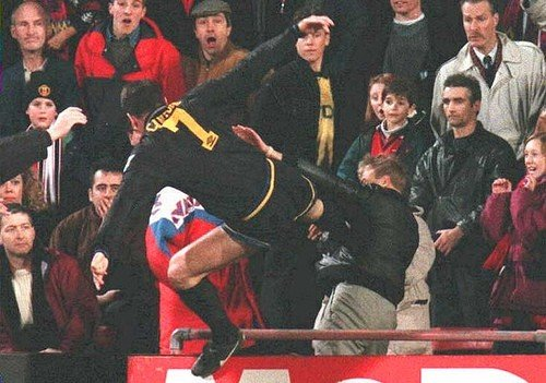 As cantona walked to the tunnel, a fan climbed down eleven rows from their seat and allegedly shouted racial abuse towards him, prompting. Eric Cantona S Kung Fu Kick