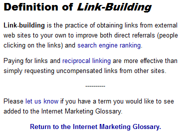 Definition of Link Building by Web1Marketing