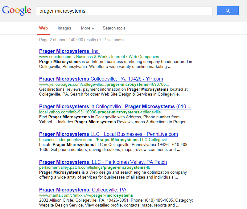 Results of Searching Prager Microsystems