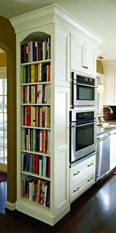 built in home library kitchen