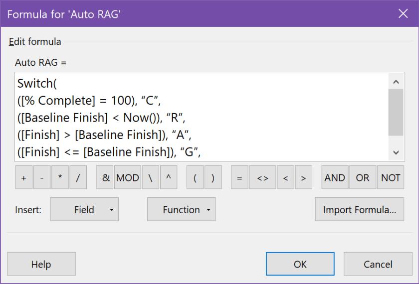 Entering the Auto RAG formula in the custom text field formula box