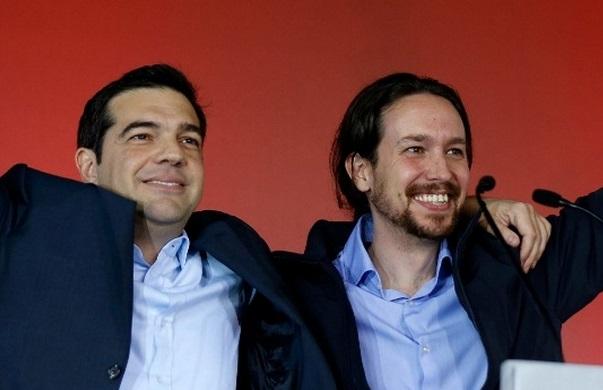Tsípras com Pablo Iglésias, fundador do Podemos