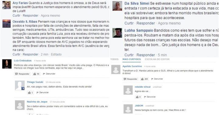 dona marisa letícia avc comentários ódio