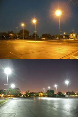 St. Isidore parking lot before (top) and after (bottom) LED conversion. (Tom Knoblock)
