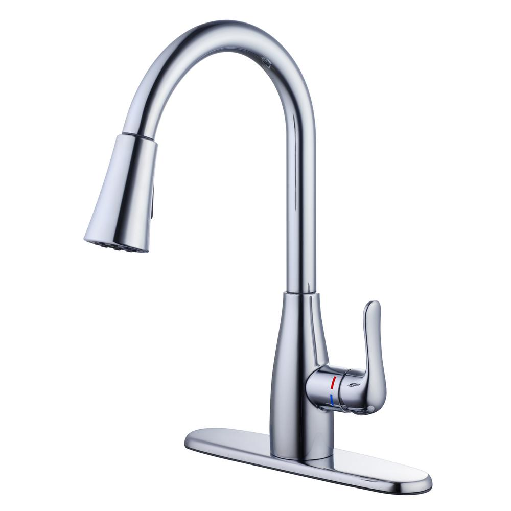 glacier bay mckenna 1005 604 253 single handle pull down sprayer kitchen faucet in chrome with turbospray and fastmount