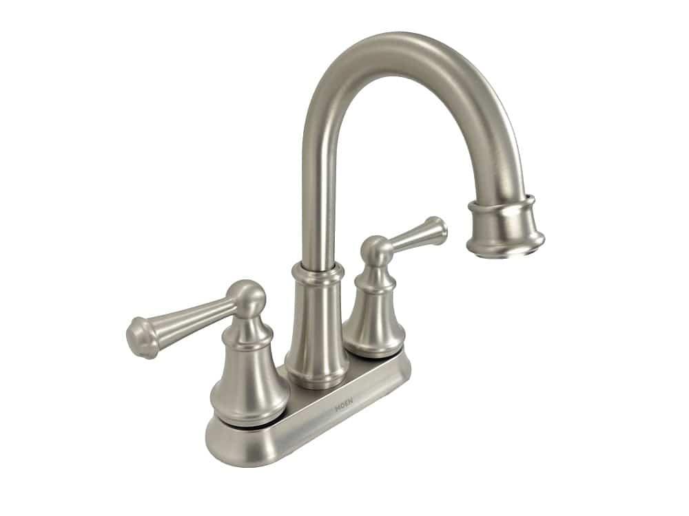 moen brecklyn 84162srn 4 in centerset 2 handle bathroom faucet in spot resist brushed nickel