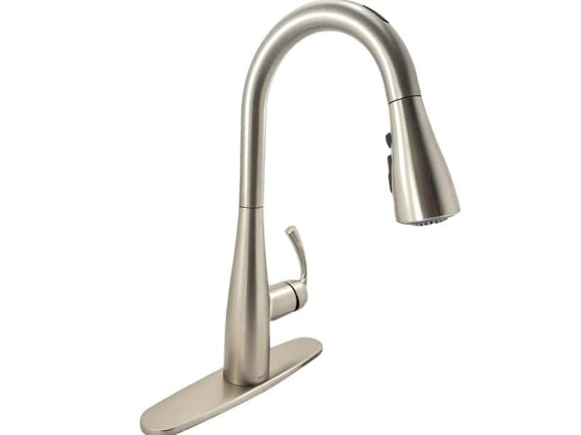 moen essie 87014evsrs single handle pull down sprayer smart kitchen faucet with voice control in spot resist stainless
