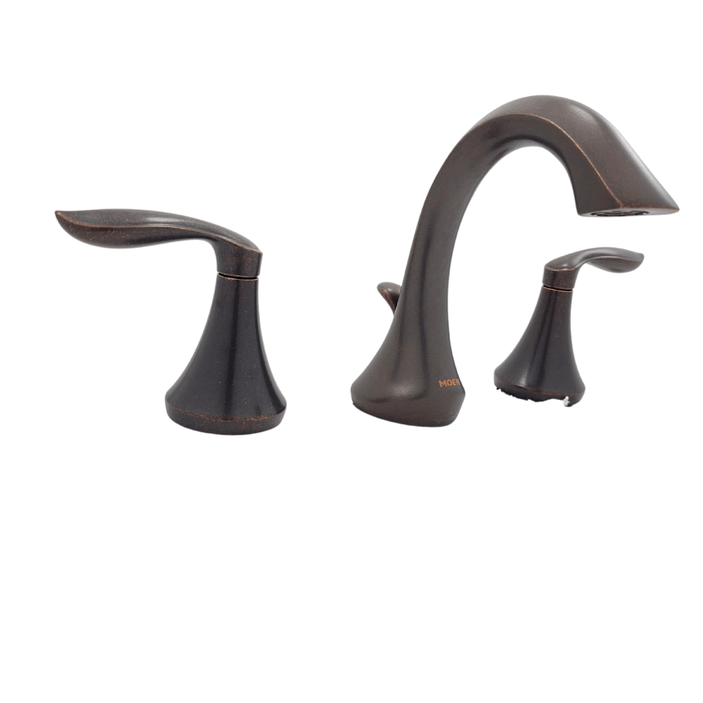 moen eva t6420orb 8 in widespread 2 handle high arc bathroom faucet trim kit in oil rubbed bronze valve not included