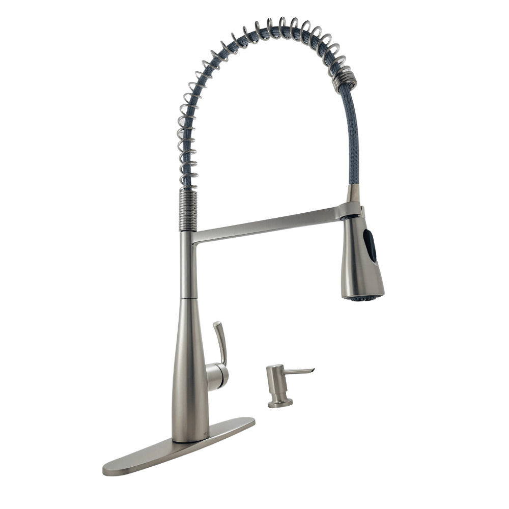 moen essie 87814srs spring single handle pull down sprayer kitchen faucet with powerclean in spot resist stainless