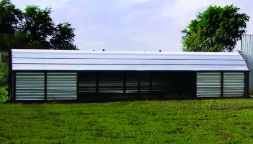7 ft x 24 ft calf shelter