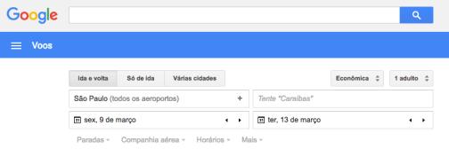 Página do Google Flights para consulta de preços das passagens para Viagem à Índia