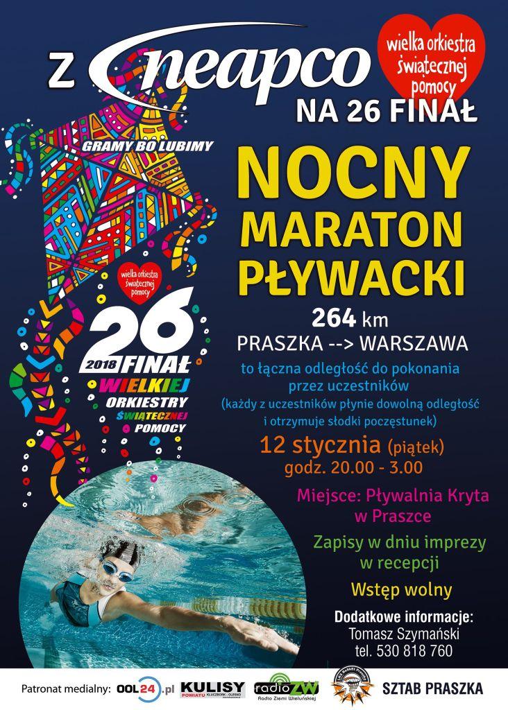 Nocny Maraton Pływacki  z NEAPCO, LKS BASKET I WOŚP Praszka