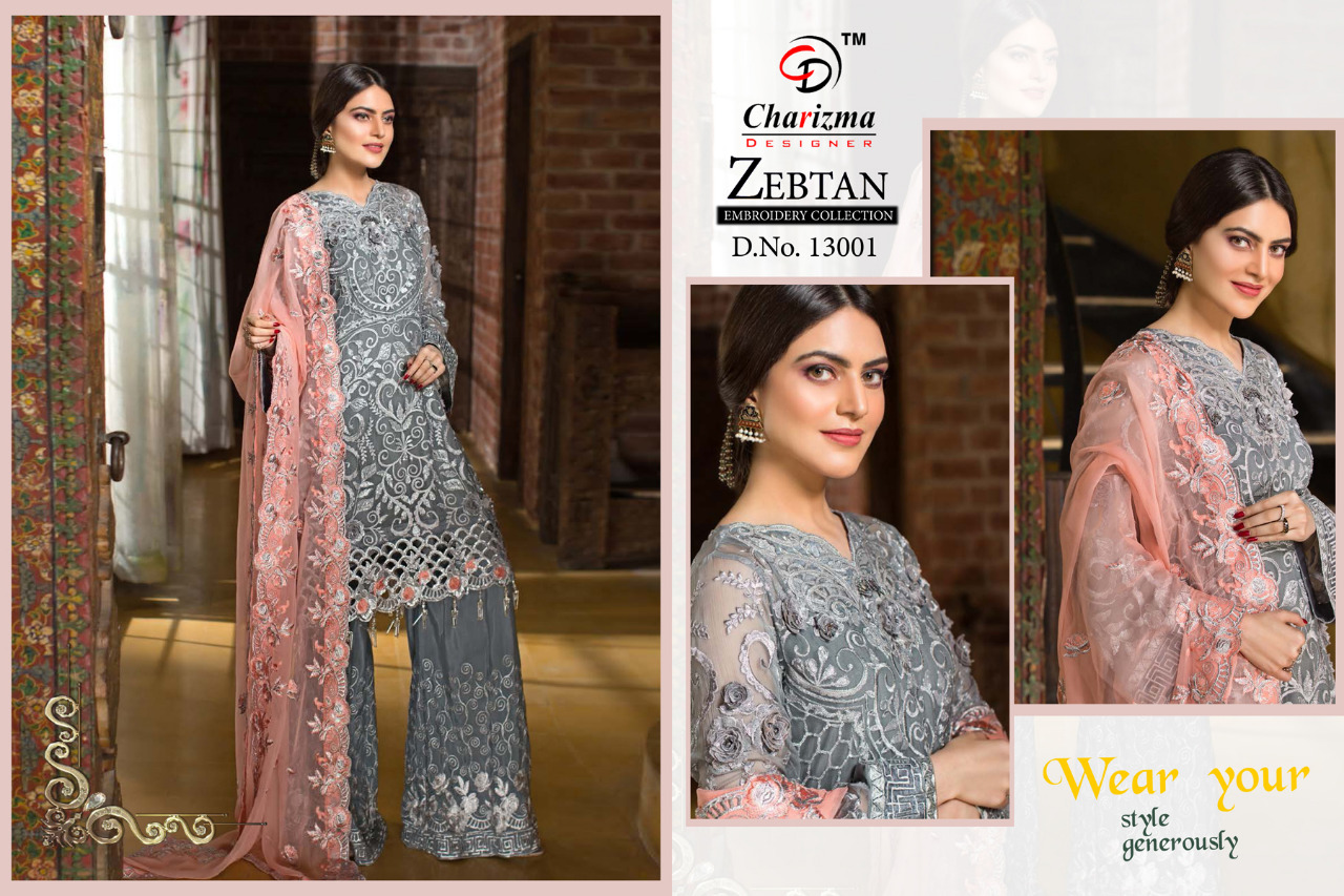 dfa942825a Charizma Zebtan embroidered Heavy Georgette Pakistani salwar suit wholesale  supplier online shopping in Surat. DOWNLOAD ZIP
