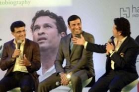 Former cricketers Saurav Ganguly, V. V. S. Laxman and Sachin Tendulkar at the launch Tendulkar's autobiography `Playing It My Way` in Mumbai, on Nov 5, 2014. (Photo: Sandeep Mahankal/IANS)