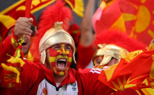 Macedonian supporters cheer as their tea