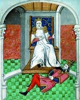 """Sultan Alp-Arsslan ha calpestato il volto. Imp. Roman IV Diogena. Miniatura dagli scritti di J. Bokcchcho """"sulle disgrazie di personaggi famosi"""". 2 ° quattro. XV secolo. (Parigi. Fr. 232. Fol. 323)"""