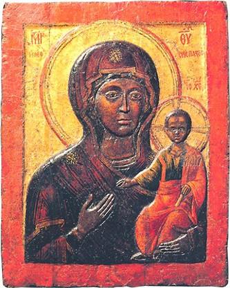Влахернская икона Одигитрия. Воскомастика. XIII - XIV в. Успенский собор Московского Кремля