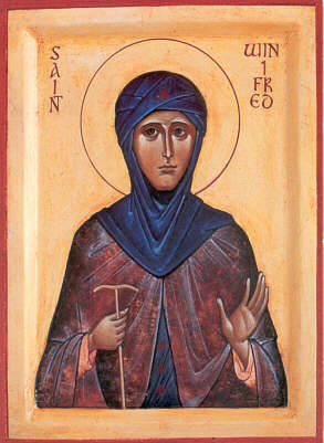 Icon of St. Winifred, painted by a modern Orthodox iconographer.