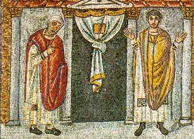 Притча о мытаре и фарисее. Ок. 480 г. Равенна. Мозаика в часовне архиепископа