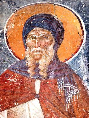 Преподобный Антоний Великий. Церковь св. Никиты близ Скопье. XIV в.
