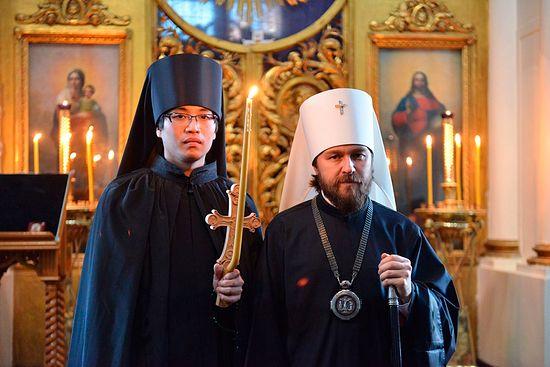 Metropolitan Hilarion of Volokalamsk and Fr. Nikolai (Ono) after his tonsure.