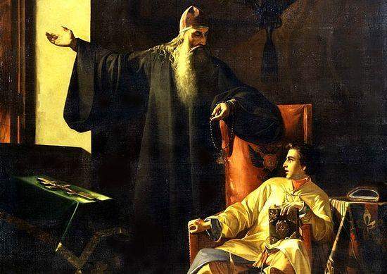 Павел Плешанов. Цар Иван Грозни и јереј Силвестар за време великог московског пожара 24. јуна 1547. године