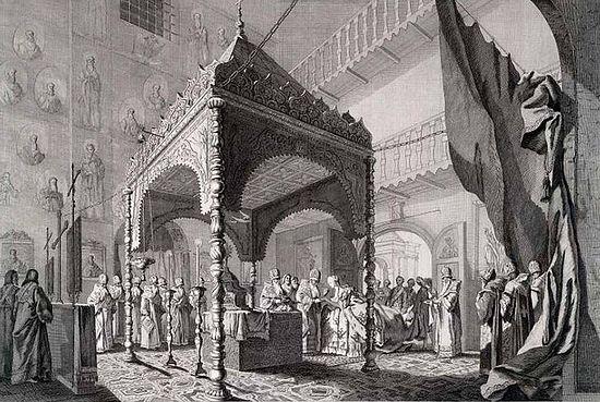 Catherine II communing inside the altar at her Coronation Divine Liturgy, 12 September 1762, Uspenskiy Sobor, Kremlin, Moscow.