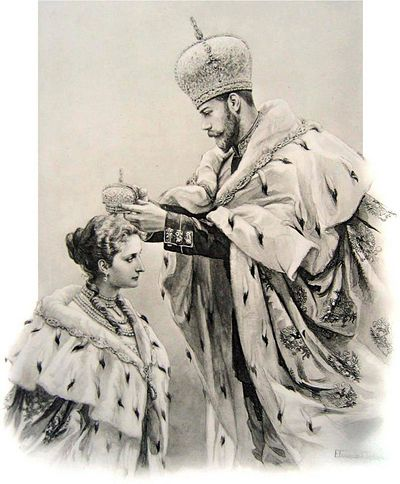Nicholas II crowned Alexandra as Empress consort immediately following his own coronation. He took off his Imperial crown and touched it briefly to her forehead, symbolizing her sharing in his sacred duty of ruling Russia, and then proceeded to crown her with the smaller consort's crown.