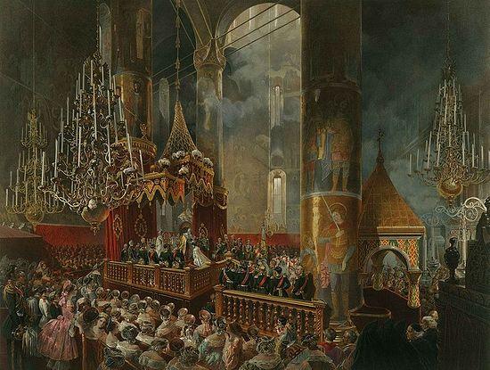 Crowning of Empress Maria Alexandrovna by Emperor Alexander II, 1856 – Coronation Book of 1856.
