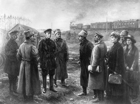 Передача семьи Романовых Уралсовету. Художник: В.М. Пчелин, 1927 г.