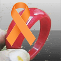 World Cancer Day Symbol Orange Ribbon